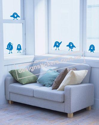 """виниловая наклейка на окно, зеркало или стену """"забавные птички"""""""