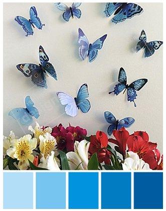 купить 3 д бабочки на стену синие объемные фото