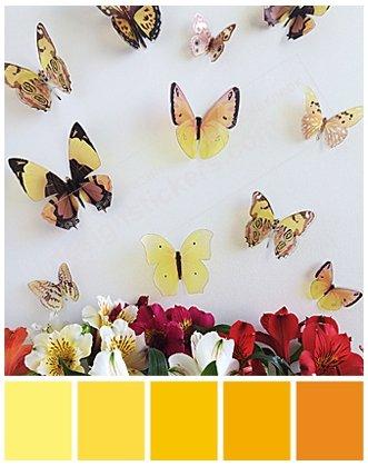 фото бабочки на стены объемные желтые ТМ DesignStickers