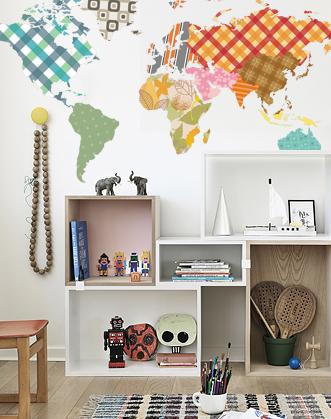 фото карта мира наклейка в детскую