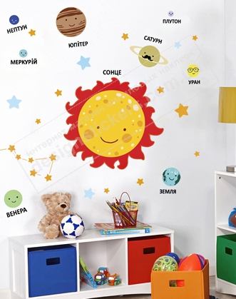так виглядає наклейка сонячна система, як оформити клас фото, сонячна система в клас фото, планети в клас фото, концепція нуш фото