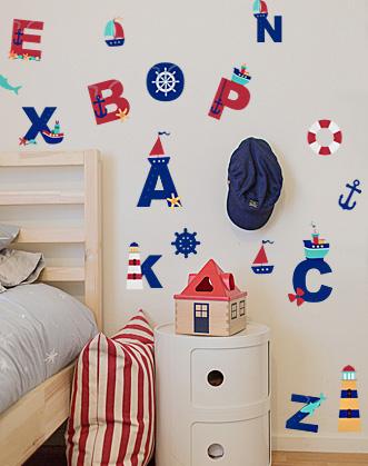 наклейка алфавит фото, морские наклейки фото, наклейки для декора в морском стиле фото, наклейки для оформления комнаты мальчика фото, наклейка английский алфавит фото