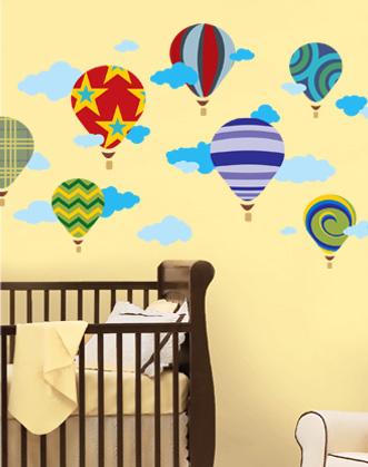фото наклейки воздушные шары, фото наклейки на обои в детскую, фото наклейка на обои в комнату мальчика