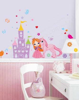 фото наклейка в комнату девочки с принцессой и замком