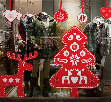 фото оформление витрины к новому году, украшение магазина к Новому году фото, новогодний декор витрины фото, DesignStickers витрины фото