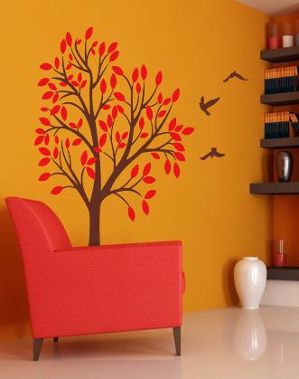 наклейка осеннее дерево фото, дерево с птицами наклейка фото