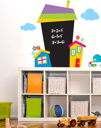 фото дом для рисования мелом, доска для мела, наклейка для письма мелом