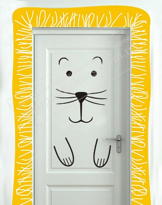 фото наклейка на дверь львенок