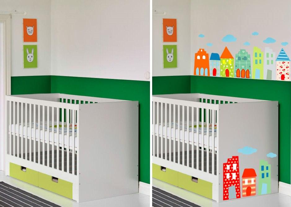 фото оформлении детской мебели икеа наклейками солнечный город