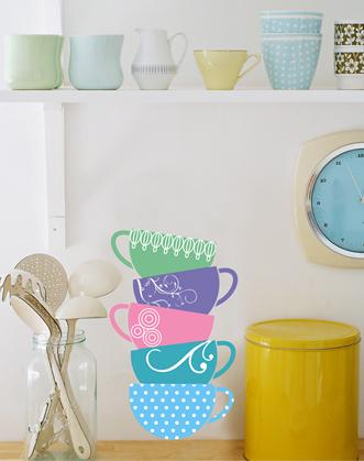 наклейки на кухню, наклейка для кухни чашки фото,оригинальный недорогой подарок