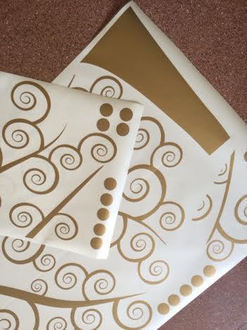 фото наклейка дерево жизни климта золото