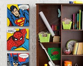 """картины в детскую для декора интерьера комнаты мальчика """"Супергерои"""" с персонажами Халка, Человека-паука, Супемена и Бетменом"""