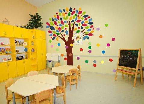 оформление детского сада фото наклейка цветное дерево и круги