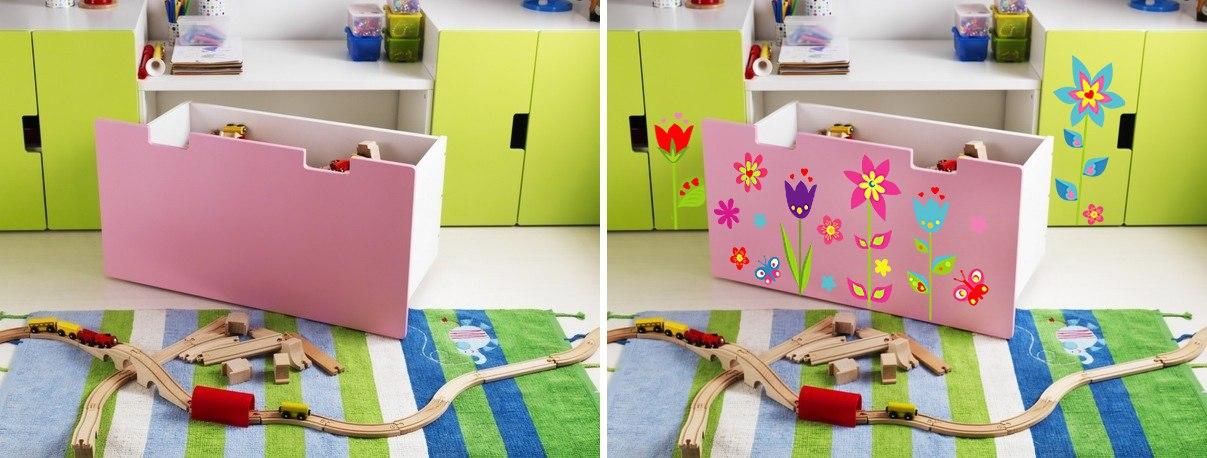 фото оформлении детской мебели икеа наклейками клумба
