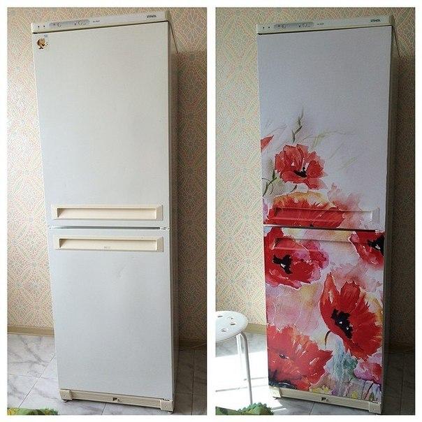 виниловая наклейка на холодильник красные маки