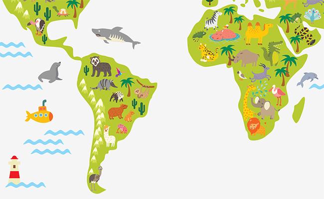 DesignStickers фрагент наклейки детская карта с животными