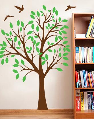 интерьерная наклейка - дерево осеннее с птицами DesignStickers