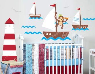 наклейка кораблики фото, морские наклейки фото, наклейки для декора в морском стиле фото, наклейки для детской фото, наклейки в комнату мальчика фото