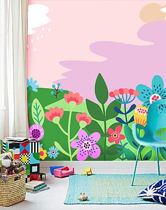 фотообои в комнату девочки цветы фото, фотообои цветы фото, фоотообои для комнаты девочки фото, фотообои розовые для девочки фото, фотообои цветы designstickers фото