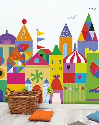 фото город фотообои, город яркий в детскую комнату фотообои фото, яркие фотообои в детскую комнату фото