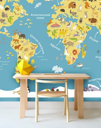 фотобои географическая карта фото, фотообои купить карта мира, карта мира в комнату ребенка фотообои фото, фотообои карта мира с животными фото