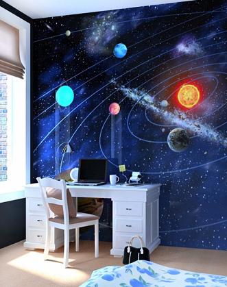 фотообои космос фото, фотообои солнце и планеты фото, фотообои космос купить фото, фотообои синие фото, фотообои для мальчика космос фото, фотообои на заказ космос фото