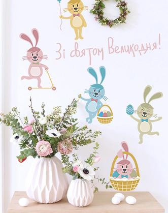 фото пасхальный декор для дома, пасхальный кролик декор витрины фото