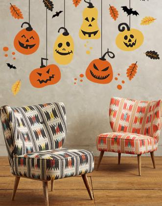 наклейка хэллоуин фото, наклейка с тыквами фото