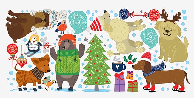 фото новогодние собаки декор, новогододний декор год собаки фото, наклейки год собаки фото, дизайнстикерс новогодние наклейки, designstickers новогодние наклейки