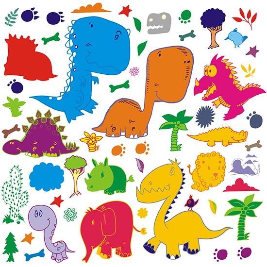 наклейка многоразовая раскраска динозавры фото