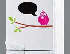 фото наклейка на холодильник для мела птичка на ветке