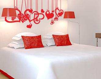 фото украшение к дню святого валентина сердечки в спальню наклейки