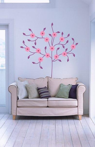 фото наклейка на стену дерево цветущее