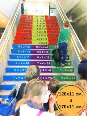 так виглядає наклейка таблиця множення на сходинках в школі, таблиця множення в клас фото, таблиця множення фото, як оформити клас фото, як оформити школу фото