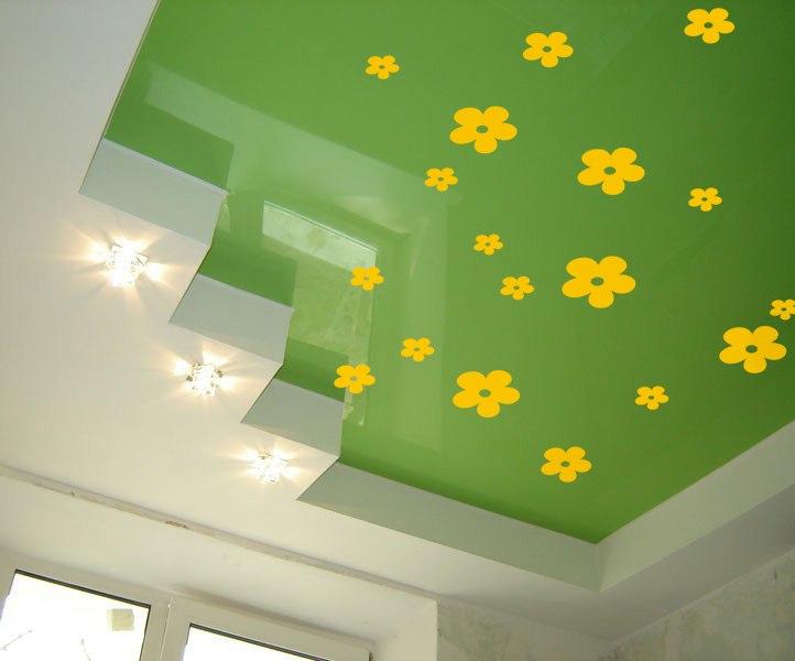 цветы наклейки фото, цветы для декора фото, цветы на потолке фото, декор потолка цветами фото