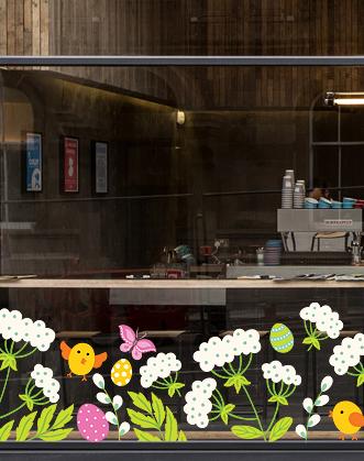оформление витрин на Пасху фото, цыплята на пасху фото, пасхальный декор окна фото, оформление торговых витрин на пасху фото, украшение витрин к Пасхе фото