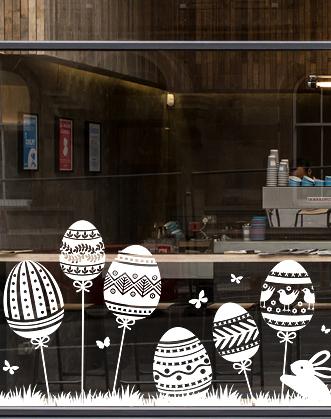 Пасхальный декор фото, декор на Пасху фото, оформление витрин к пасхе фото, пасхальное оформление окна фото, пасхальные зайцы фото