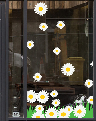 оформление витрин к весне фото, весеннее оформление витрин фото, цветы на витрины фото, наклейки цветы на витрины фото, весенний декор витрин фото