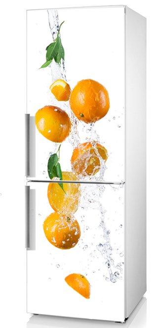 фото виниловая наклейка на холодильник апельсины, фото наклейка на холодильник с фруктами