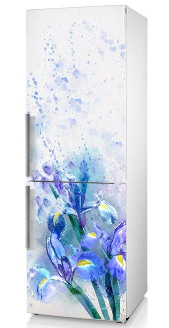 фото наклейка на холодильник ирисы