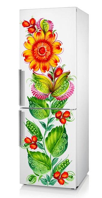 наклейка на холодильник народный орнамент петриковка, наклейка народная роспись